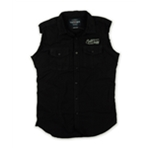 Ecko Unltd. Mens Promoter Sleeveless Woven Solid Button Up Shirt