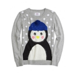 Justice Girls Fuzzy Penguin Knit Sweater