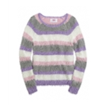 Justice Girls Fuzzy Stripe Pullover Sweater