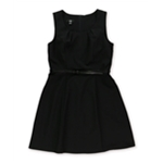 AGB Womens Belted A-line Dress