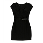 AGB Womens Belted Sheath Dress