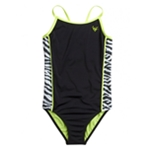 Justice Girls Colorblock Zebra One Piece Tank Swimsuit