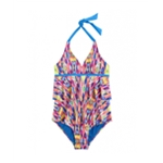Justice Girls Tie Dye Ruffle One Piece Halter Swimsuit