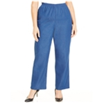Alfred Dunner Womens Denim Pull-On Casual Trouser Pants