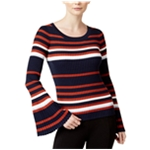 bar III Womens Striped Bell-Sleeve Pullover Sweater