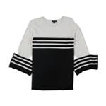 Alfani Womens Stripe Colorblock Knit Sweater