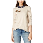 maison Jules Womens Collared Sequined Knit Blouse