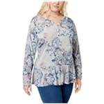 Style & Co. Womens Floral Henley Shirt