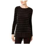 I-N-C Womens Metallic Stripe Pullover Blouse