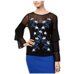 Thalia Sodi Womens Mesh Embroidered Knit Blouse