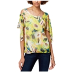 bar III Womens Tie Sleeve Cold Shoulder Blouse