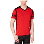 I-N-C Mens Faux Leather Accent Embellished T-Shirt