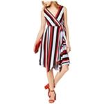 I-N-C Womens Striped Faux Wrap Surplice Dress