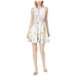 bar III Womens Zip Front Tropical Fit & Flare Dress