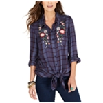 Style & Co. Womens Tie-Front Button Up Shirt