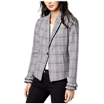 maison Jules Womens Plaid Fitted One Button Blazer Jacket