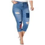 I-N-C Womens Embroidered Roses Cropped Jeans