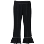 I-N-C Womens Contrast Stitch Ruffle Casual Trouser Pants