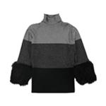 Alfani Womens Faux Fur Cuff Pullover Sweater