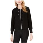 maison Jules Womens Tweed Embellished Bomber Jacket