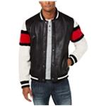 I-N-C Mens Striped Sleeve Varsity Jacket