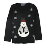 Karen Scott Womens Festive Snowman Knit Sweater