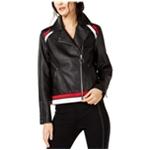 I-N-C Womens Faux Leather Jacket