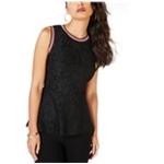 Thalia Sodi Womens Metallic Trim Lace Sleeveless Blouse Top
