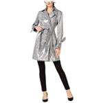 I-N-C Womens Patent Plaid Trench Coat