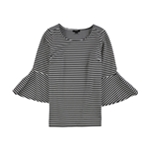 Alfani Womens Striped Bell Sleeve Pullover Blouse