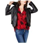 I-N-C Womens Velvet Hoodie Faux-Leather Jacket