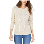 I-N-C Womens Embellished Cable Knit Pullover Sweater