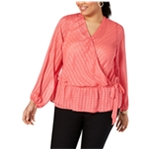 I-N-C Womens Textured Wrap Blouse