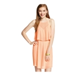 Material Girl Womens Popover Pleated Tiered Dress