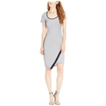 Material Girl Womens Asymmetrical Striped Bodycon Dress