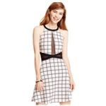 Material Girl Womens Illusion Printed Fit & Flare A-line Dress
