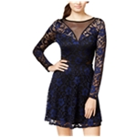 Material Girl Womens Contrast Lace Fit & Flare Shift Dress