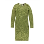 Material Girl Womens Lace Illusion Bodycon Dress