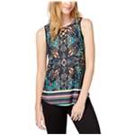 BCX Womens Lace-Up Sleeveless Blouse Top