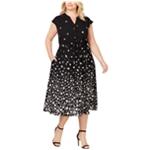 Anne Klein Womens Floral Ombre Midi Dress