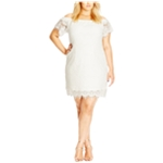 City Chic Womens Off-the-Shoulder Lace Sheath Dress
