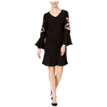 SLNY Womens Embroidered Bell Sleeve Sheath Dress