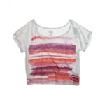 Ecko Unltd. Womens Open Neck Painted Stripe Graphic T-Shirt