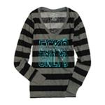 Ecko Unltd. Womens L/s Hthrd W Neck Graphic T-Shirt