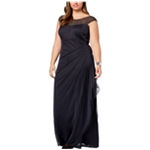 XSCAPE Womens Embellished Bateau Neck Prom Dress