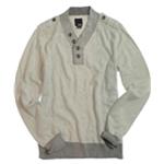 bar III Mens 1/4 Button Up Knit Sweater