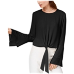 Self E Womens Tie Front Bell Sleeve Pullover Blouse