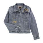 Ralph Lauren Womens Embroidered Beaded Denim Five Button Blazer Jacket