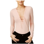 Material Girl Womens Lace-Up Bodysuit