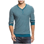 I-N-C Mens Striped Knit Henley Shirt